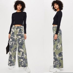 *NWT* Topshop┃Wide Leg High Rise Camo Flare Jeans